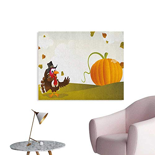 Turkey Photographic Wallpaper Happy Pilgrim Poultry Animal with a Giant Pumpkin on Green Hills of The Farmland Wall Poster Multicolor W48 xL32