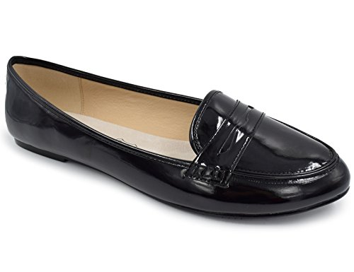 Greatonu Women's Black Patent Comfort Slip-on Penny Loafer Flats(10 US)