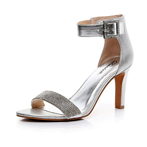 (DUNION Women's Amy Rhinestone Strappy Stiletto High Heel Dress Sandal Party Prom Wedding Shoe,Silver,8 M US)