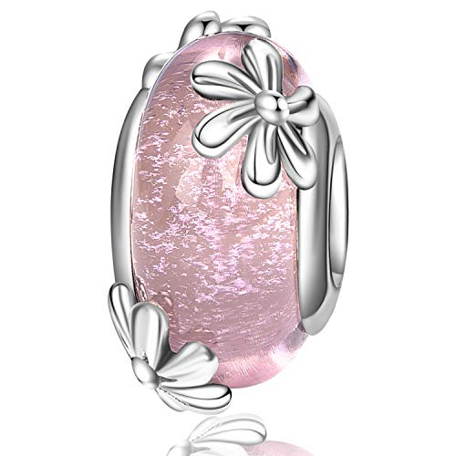 Daisy Flower Charm 925 Sterling Silver Spring Pink Blossom Charm Murano Glass Bead for Bracelet