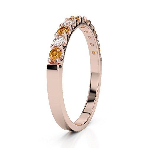 Or Rose 18carats 0,15CT G-H/VS Certifié Coupe ronde Citrine et diamants Agdr-1107