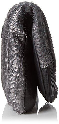 Liebeskind Berlin Damen Suzuka Fringe Clutches, 28x23x7 cm Mehrfarbig (Black Ground/Anthrazith 99m1)