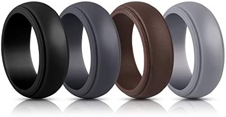 Elimoons Silicone Wedding Ring for Men 4 Rings,Breathable Mens Rubber Wedding Bands,Size 7 Diameter 0.68 inch?Circumference 2.14 inch