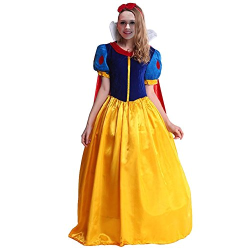Elsa Costumes Teen (KUFV Women Snow White Princess Costume with Headband for Teens & Adult S-XXL)