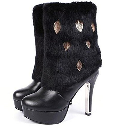 Vrouwen Pu Lederen Konijnenhaar Winter Hoge Hak Platform Schoenen Dame Bezaaid Strass Warme Hoge Been Laarzen Snow Booties Zwart 1