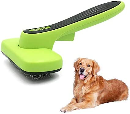 Self Cleaning Slicker Brush Dog Deshedding Tool Pet Grooming Brush for Dogs & Cats with Long or Short Hair