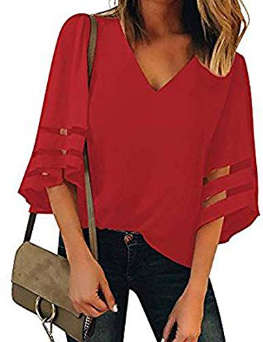 Heariao Women's V Neck Mesh Panel Blouse 3/4 Bell Sleeve Loose Bottoming Shirt Chiffon Casual Top Shirts (Red, XL)