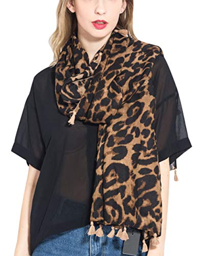 Feoya Women's Scarf Fashion Leopard Print Tassel Cotton and Linen Lightweight Muffle - Prints Cotton Scarf Linen