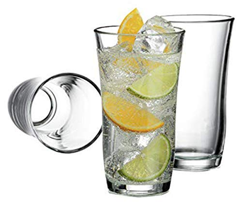 (Tumbler Highball Set OF 12-18 oz Heavy Base! Thick Wall! The Substantial Pressed Glass Promises LONG LASTING.! Dishwasher Safe! Sleek Silhouette! Versatile: Water Beverages Beer & Cocktails (12))