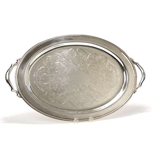 Tray, Chased Bottom by Oneida, Silverplate, Beaded Edge
