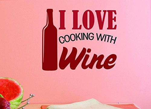 10 x 20, 10 Inches X 20 Inches Color Design with Vinyl US V JER 2454 1 Top Selling Decals I Love Cooking With Wine Wall Art Size Multi