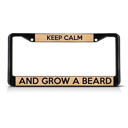 Ralally Keep Calm and Grow A Beard Black License Plate Frame Tag Holder -