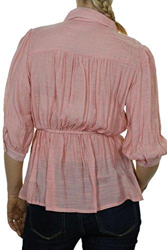 ICE (4059-3) Rose textura Camiseta con manga ¾ de punto y las colmenas de las mujeres