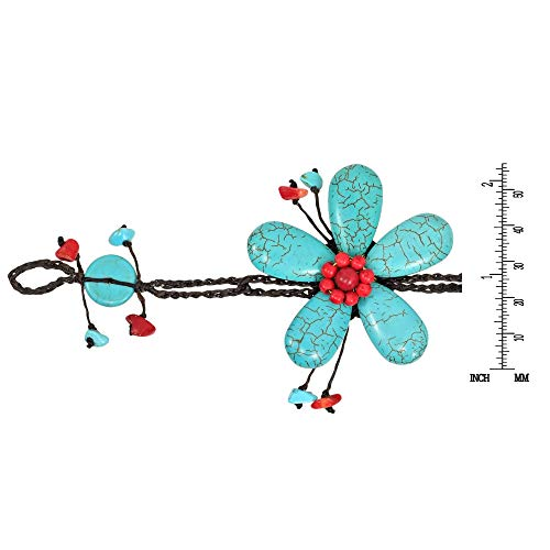 AeraVida Handmade Simulated Turquoise & Reconstructed Red Coral Large Flower Organic Bracelet by AeraVida (Image #3)