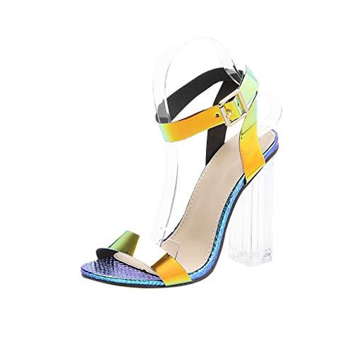 MmNote Women Shoes, Women's Night Club Flicker Clear High Heel Bold Buckles Dress Party Pump Sandals Comfortable ()