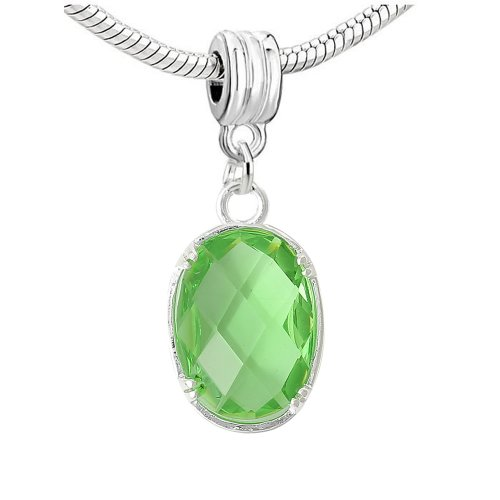 Green Oval Charm (Cubic Zirconia Oval Cz Birthday Charm Jewelry (August Peridot Green)