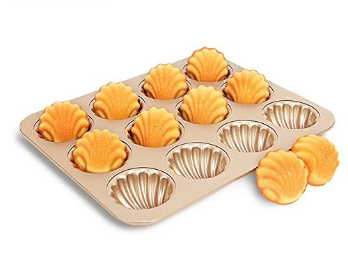 Madeleine Pans Baking Shell Mould Madeleine Cake Pan 12-cup Non Stick Gold Bakeware(madeleine pan) by Monfish (Image #2)