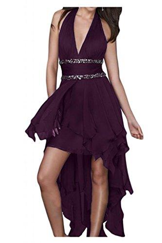 Toscana novia Chic tirante Hi-Lo por la noche vestidos de gasa vestido de fiesta largo vestidos de bola Traube