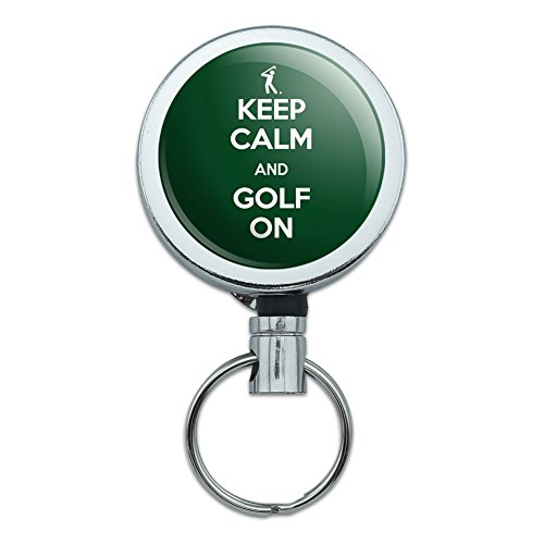 Golfer Key Holder - Metal Retractable Reel ID Badge Key Holder with Belt Clip Golf Golfing Golfer - Keep Calm and Golf On Golfer Symbol