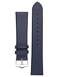 Signature Easy in blue 18 mm watch band. Replacement watch strap. Genuine leather. Silver Buckle