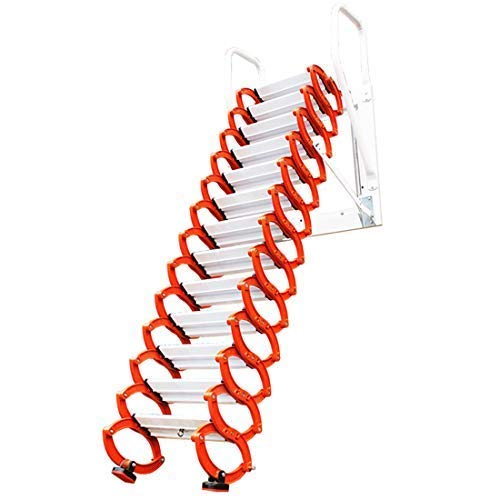 Aluminum Alloy Household Retractable Ladder for Loft Home Folding Step Ladder Attic pulldown Ladder Hinge Use Range Vertical Height 1-3.5M