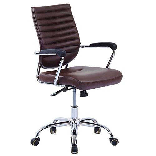 LSCING Ergonomic Upholstered Recliner Mid-Back Leather Swivel Task Computer Office Chair, Nut Brown by LSCING