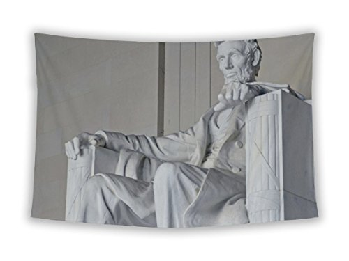 Gear New Wall Tapestry For Bedroom Hanging Art Decor College Dorm Bohemian, Abraham Lincoln Statue Lincoln Memorial Washington Dc USA, 60x51