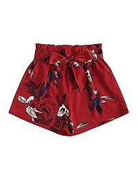 Milumia - Pantalones Cortos de Cintura Media con Lazo y Cierre Lateral, Estilo Casual, para Mujer