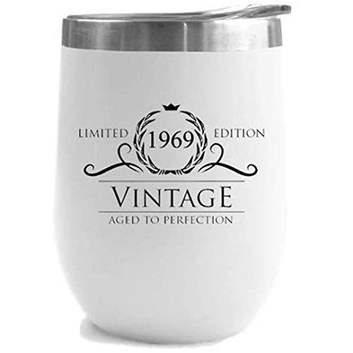 1969 50th Birthday Gifts for Women Men | Vintage Aged to Perfection Stainless Steel Tumbler | 12 oz White Tumblers w Lid | Funny Gift Ideas for Him Her Husband Wife Mom Dad | Insulated Cups 50 th bday (50 Birthday Gifts For Women)