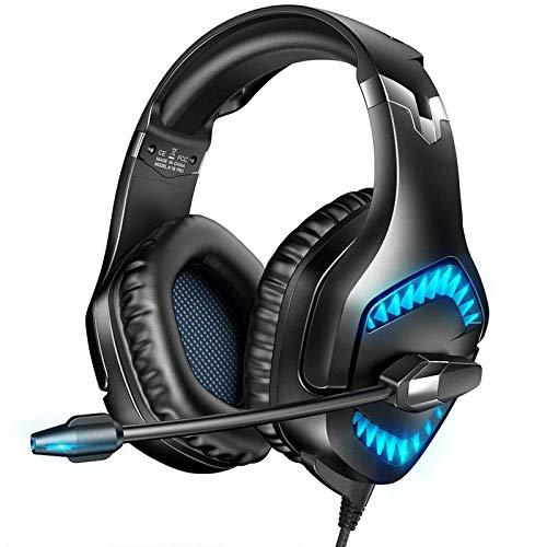 RUNMUS - Auriculares de diadema para PS4, Xbox One, con cancelación de ruido y luz LED, auriculares para juegos con controladores de 50 mm y sonido envolvente, compatible con Xbox One, PS4, Switch, PC a buen precio