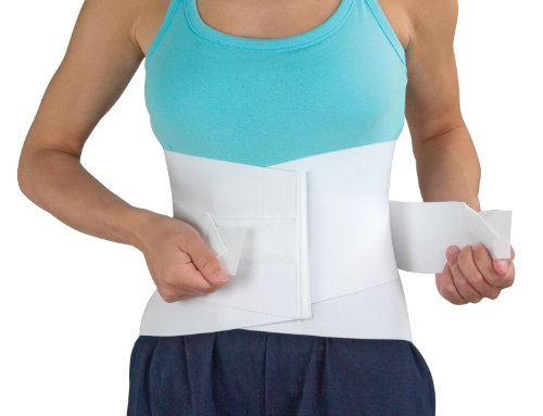 MABIS DMI Lumbar Support Brace, Unisex Lower Back Support Brace, Adjustable Lumbar Support, White