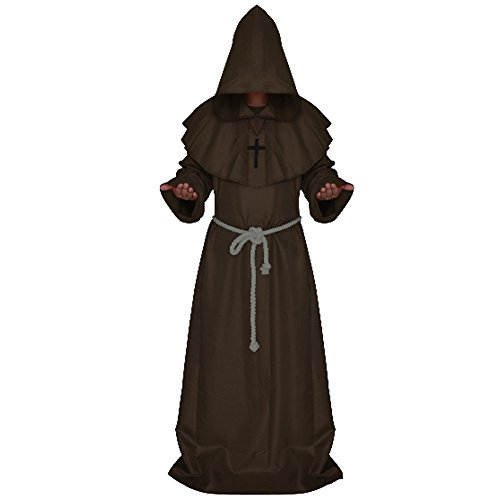 LETSQK Men's Friar Medieval Hooded Monk Priest Robe Tunic Halloween Costume Coffee (Priest Outfit Halloween)