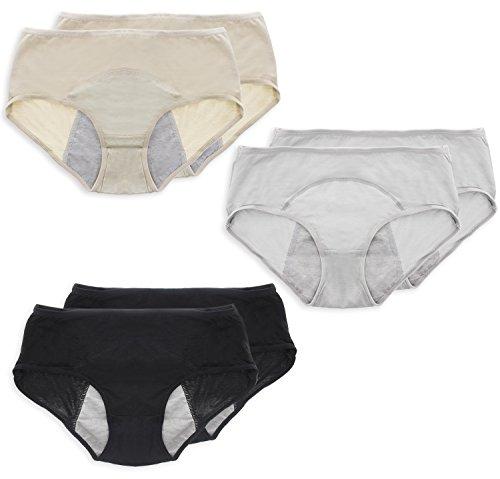 Rosy Cheeks Period Panty - Set of 6 Menstrual Underwear Sanitary Protective Briefs, Leak Proof Period Underwears, Women, Black, Gray, Beige, (Absorbent Protective Underwear)