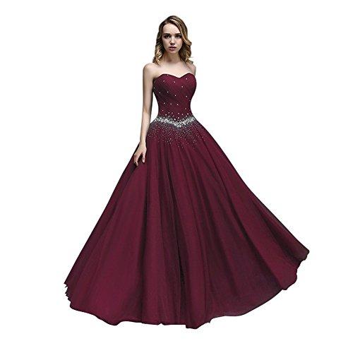 kleider Ballkleid KAIDUN Tuell Burgundy Damen Abendkleid lange Party wYYHzTq