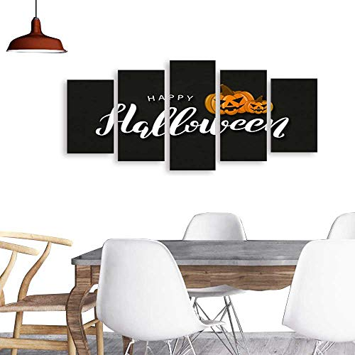 Five Pieces Wulian PaintingVector realistic isolated typography for Halloween and pumpkins for decoration and covering on the dark background Concept of Happy Halloween . Living Room Office Decor Gif -