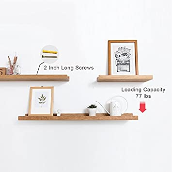 INMAN Floating Shelves Display Wooden Wall Mount Ledge Shelf Picture Record Album Photo Ledge Small Hanging Kids Wall Bookshelf for Bedroom Kitchen Office Home D cor Oak, 20 Basic