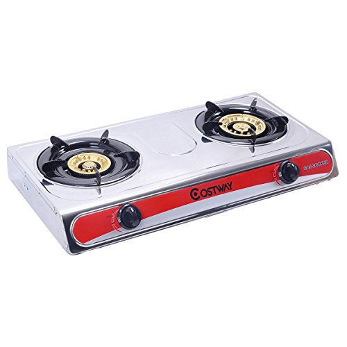 Giantex Stainless Steel 2 Burners Gas Stove Cooker Hob Cooktop Kitchen Home