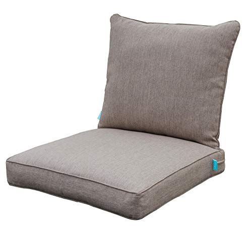 QILLOWAY Outdoor Chair Cushion Set,Outdoor Cushions for Patio Furniture.Tan/Grey (Outdoor Cushion Chair)