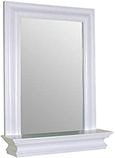 Elegant Home Fashions Stratford Collection Framed Mirror With Shelf, White