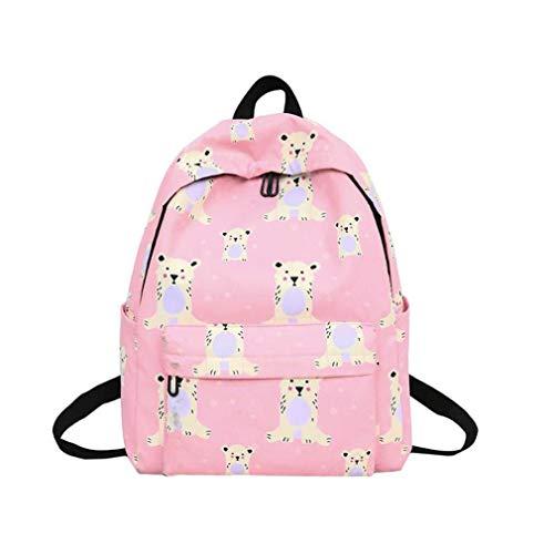 Jikibag Cute Printed School Backpack for Teenage Student Girls Canvas Book Bag Pink