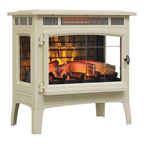 Duraflame 3D Infrared Electric Fireplace Stove with Remote Control - Portable Indoor Space Heater - DFI-5010 (Cream) (Fireplace White Electric Wood)