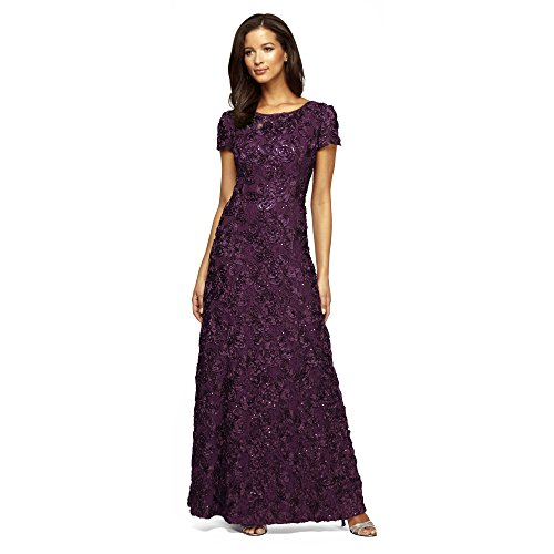 Alex Evenings Women's Petite Long a-Line Rosette Dress, Eggplant, 8P