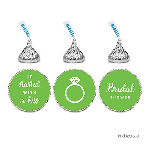 Andaz Press Chocolate Drop Labels Trio, Fits Hershey's Kisses, Wedding Bridal Shower, Kiwi Green, 216-Pack