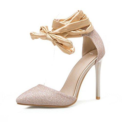 TAOFFEN Lacets Aiguille à Gold Sandales Femmes 1 Chaussures Talon Briller gHZgwr