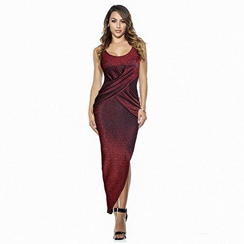 Damen-Kleid-dünner asymmetrischer Furcal langer runder Ansatz Sleeveless Nachtclub-Frühlings-Sommer