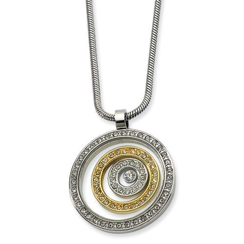 (Chisel Stainless Steel Yellow IP plated CZ Circle Pendant 20in Necklace)