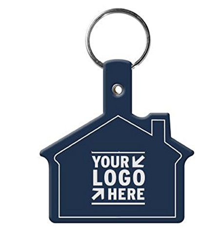250 Personalized House Shaped Flexible Keychains Printed with Logo/Message USA (House Shaped Key)