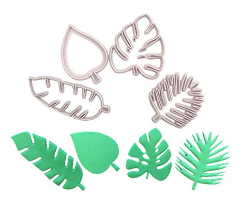 Topfun 4pcs Tropical Leaf Cookie Cutters Hawaiian Palm Leaves Fondant Cutters Set for Hawaiian Tropical Summer Wedding Birthday Party Supplies ()