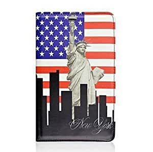 LZX Statue of Liberty 360 Degree Rotating PU Leather Case for Samsung Galaxy Tab S 8.4 SM-T700