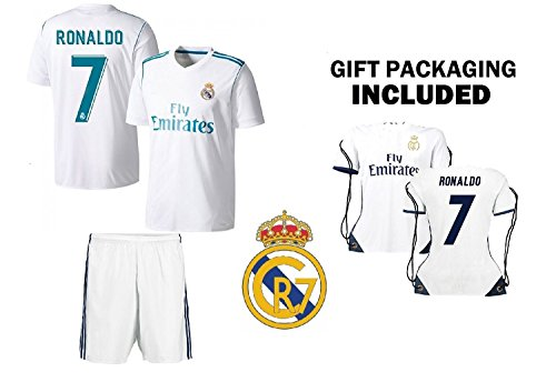 1b5fcbffd CR7 Christiano Ronaldo Kids Soccer Jersey Set - Ronaldo #7 Youth Jersey  Shirt + Shorts + CR7 Bag = Ultimate Fan Gift Set for Boys & Girls - Buy  Online in ...